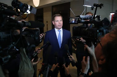 Rep. Eric Swalwell (D-CA), talks to the media outside of a closed-door hearing at the U.S. Capitol on November 7, 2019 in Washington, DC. the Chairman of the House Intelligence Committee, Adam Schiff (D-CA) has announced that public hearings will begin ne