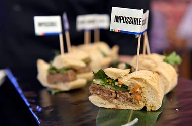 Impossible Pork Banh Mi are sampled during an Impossible Foods press event for CES 2020 at the Mandalay Bay Convention Center on January 6, 2020 in Las Vegas, Nevada. CES, the world's largest annual consumer technology trade show, runs January 7-10 and f