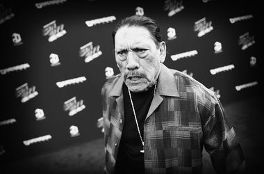 """Image processed using digital filters) Actor Danny Trejo attends the premiere of """"Sin City: A Dame To Kill For"""" at TCL Chinese Theatre on August 19, 2014 in Hollywood, California."""