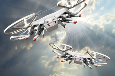Drone with missiles. New technology for war. Digital artwork fictional vehicles on UAV theme.