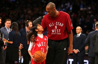 FEBRUARY 14: Kobe Bryant #24 of the Los Angeles Lakers and the Western Conference warms up with daughter Gianna Bryant during the NBA All-Star Game 2016 at the Air Canada Centre on February 14, 2016 in Toronto, Ontario. NOTE TO USER: User expressly acknow