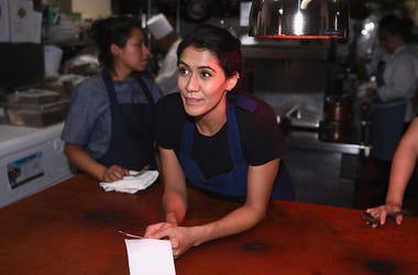 Chef Daniela Soto- Innespart prepares food for A Dinner with Rick Bayless and Daniela Soto-Innes part of the Bank of America Dinner series curated by Chefs Club at Hôtel Plaza Athénée on October 14, 2016 in New York City.