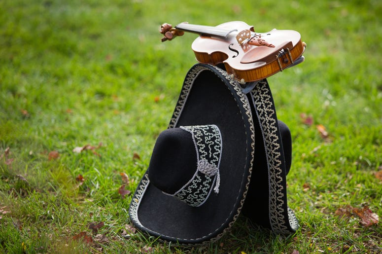 Mariachi instruments on the ground
