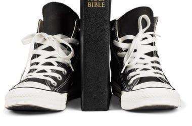 Bible Between Black Shoes