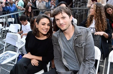 Actors Mila Kunis (L) and Ashton Kutcher at the Zoe Saldana Walk Of Fame Star Ceremony on May 3, 2018 in Hollywood, California.
