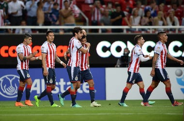 Chivas Guadalajara celebrate after a goal from midfielder Orbelin Pineda (7) during the first half against the Toronto FC at Akron Stadium.