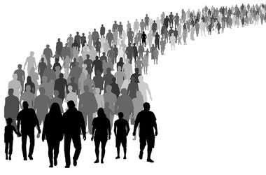 Crowd of people silhouette vector. Resettlement of refugees, emigrants.