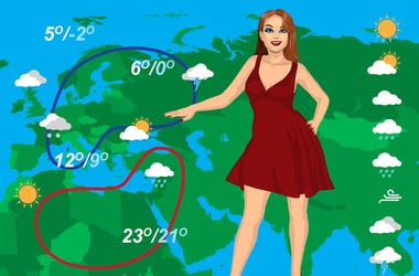 Weather forecast. Lady, snow.