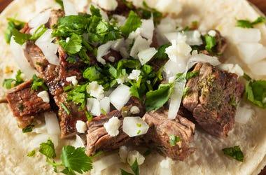 Homemade Carne Asada Street Tacos. Cheese, cilantro.