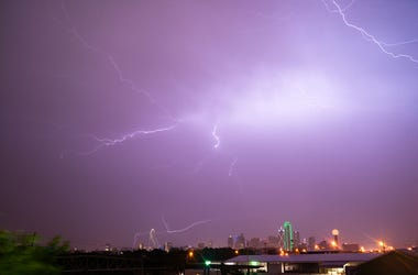 Lightning Electrical Storm Dallas Texas City Skyline.