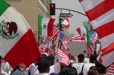 A photograph of A Day without an Immigrant boycott on May 1st in Los Angeles, California.