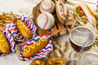 Baseball party food with balls and glove on a wood table.