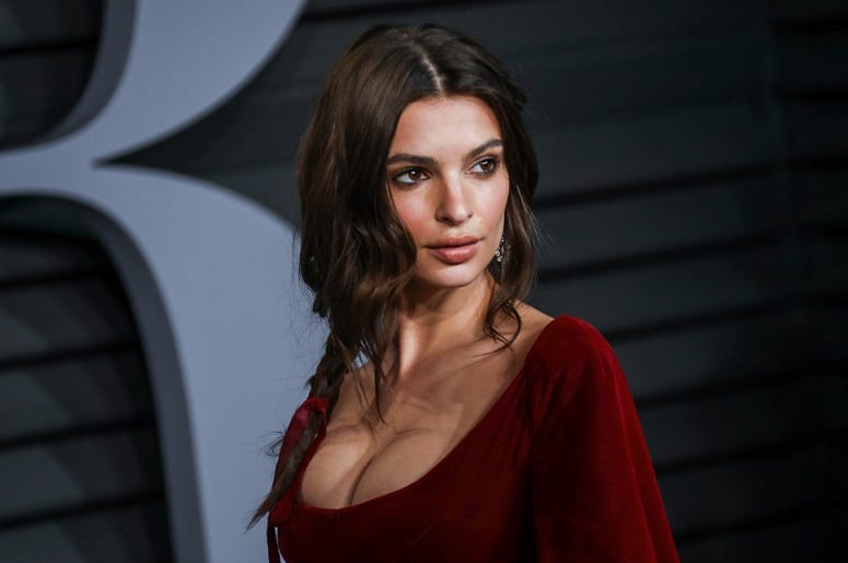 Emily Ratajkowski walking on the red carpet at the 2018 Vanity Fair Oscar Party hosted by Radhika Jones held at the Wallis Annenberg Center for the Performing Arts in Beverly Hills on March 4, 2018.
