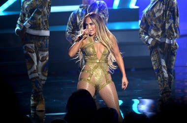 Jennifer Lopez on stage at the MTV Video Music Awards 2018, Radio City, New York.