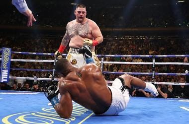 Andy Ruiz Jr knocks down Anthony Joshua in the third round during their IBF/WBA/WBO heavyweight title fight at Madison Square Garden on June 01, 2019 in New York City.