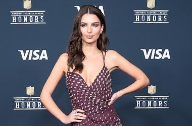Actress and model Emily Ratajkowski arrives on the red carpet prior to the 6th Annual NFL Honors at Wortham Theater.