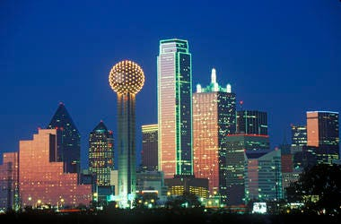 Dallas, TX skyline at night with Reunion Tower. Cityscapes, lone.