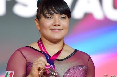 Alexa Moreno of Mexico poses with his bronze medal on the podium after winning the Women's Vault Final at the 48th Gymnastics World Championships in Doha, capital of Qatar, Nov. 02, 2018. Alexa Moreno won the bronze medal with 14.508(Xinhua/Nikku)