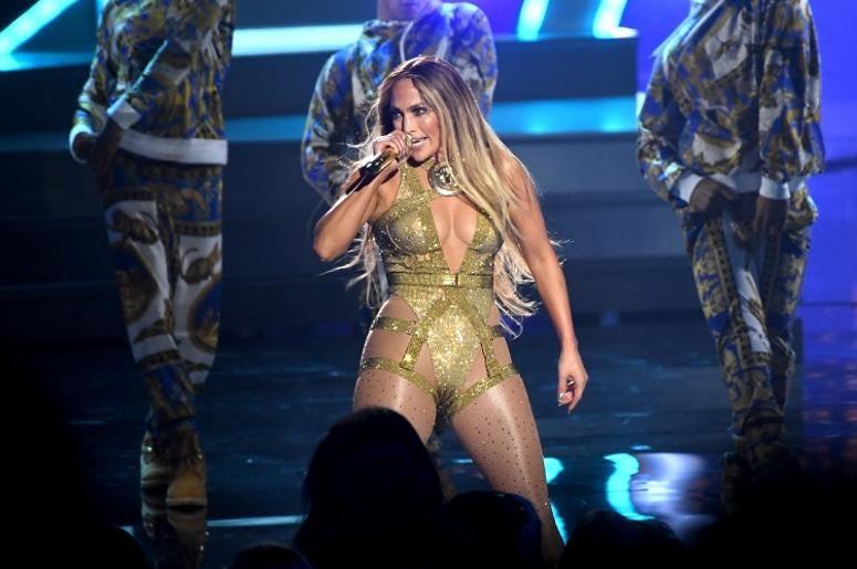 Jennifer Lopez on stage at the MTV Video Music Awards 2018, Radio City, New York.