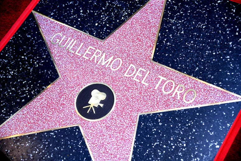 The star is shown at the Hollywood Walk of Fame ceremony honoring Guillermo del Toro on August 06, 2019 in Hollywood, California.