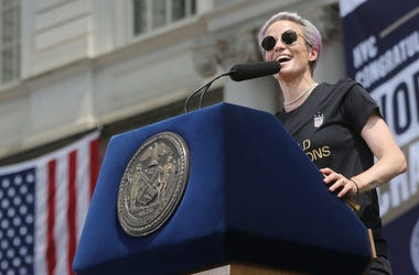 Megan Rapinoe addresses the fans at city hall. Wednesday, July 10, 2019 Usnwt World Cup Champs