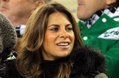 Television personality Jillian Michaels in attendance during the first half of the game between the New York Jets and the New England Patriots on Thanksgiving at Metlife Stadium.