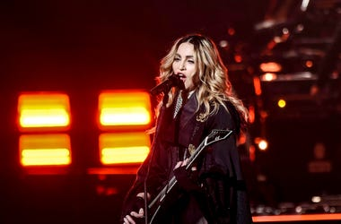 Recording artist Madonna performs during her Rebel Heart Tour stop at the American Airlines Center.