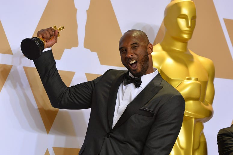 "Animated Short winner, ""Dear Basketball,"" Kobe Bryant backstage at the 90th Academy Awards ceremony on Sunday, March 4, 2018 in Hollywood, Calif. (Photo by Scott Varley/TNS/Sipa USA)"