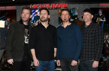 Frontman Chad Kroeger, guitarist Ryan Peake, drummer Daniel Adair and bassist Mike Kroeger of Nickelback