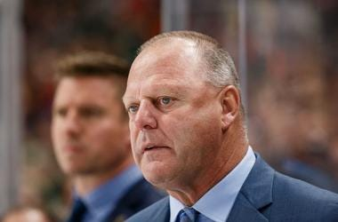 Las Vegas Golden Knights head coach Gerard Gallant on the bench in the first period against Minnesota Wild at Xcel Energy Center.