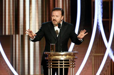 Ricky Gervais hosts the 77th Annual Golden Globe Awards at The Beverly Hilton Hotel.