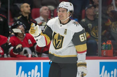 Vegas Golden Knights right wing Mark Stone (61) celebrates after scoring a goal against the Ottawa Senators in the second period at the Canadian Tire Centre.