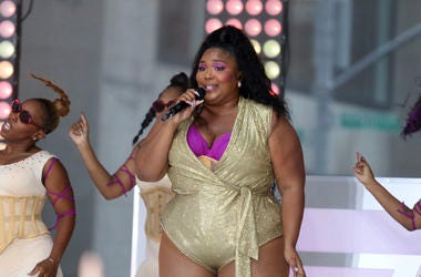 Lizzo performing live in concert on NBC's TODAY Show, at Rockefeller Plaza in New York (Photo by PA Images/Sipa USA)