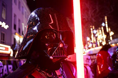 Darth Vader with a Lightsaber at the Star Wars: The Rise of Skywalker Premiere at Cineworld, Leicester Square, London.