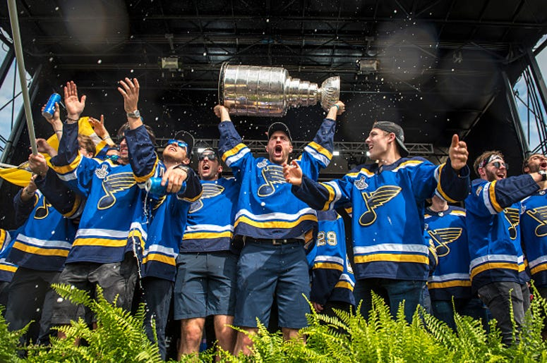 Blues holding Stanley Cup