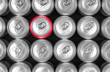 top view of beer cans