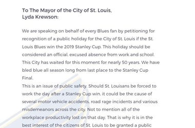 St. Louis Blues Stanley Cup Final win petition
