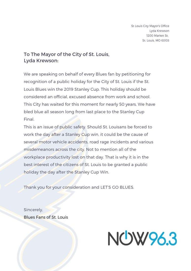 St. Louis Blues Stanley Cup Final win petition
