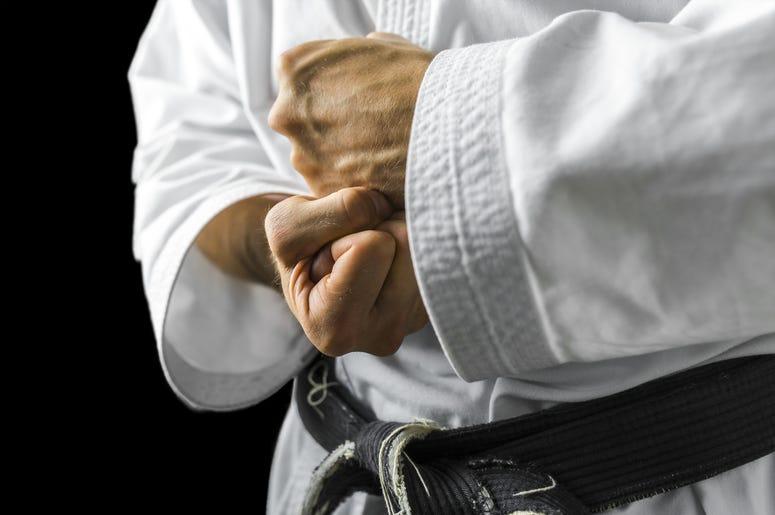 Karate fighting hands.