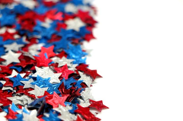 red white and blue confetti