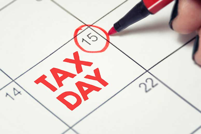 tax day april 15 circled on calendar