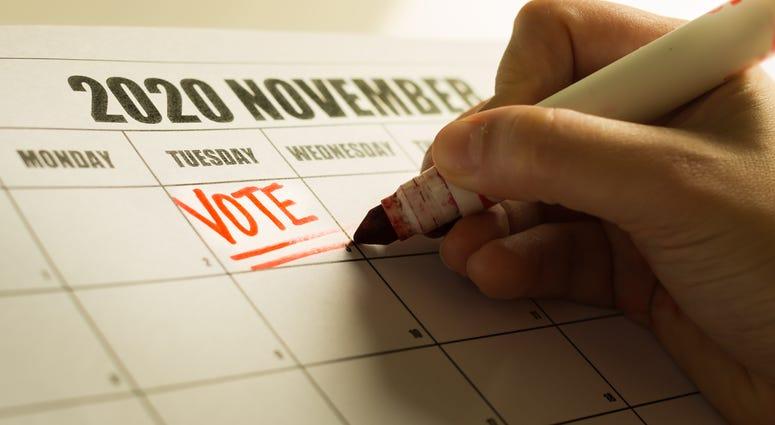 USA Presidential vote reminder written on a 2020 November calendar
