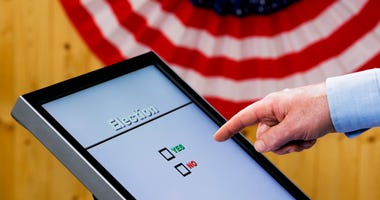 Hand over electronic voting machine