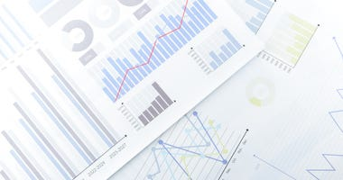 Graphs and information on a financial report