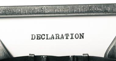 word declaration typed on old typewriter