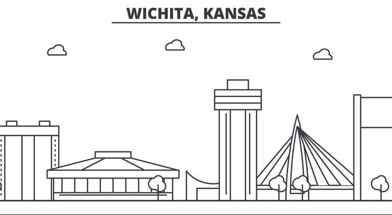 Wichita architecture line skyline illustration