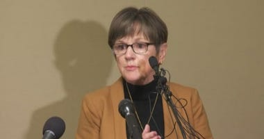 Governor Laura Kelly provides an update on the coronavirus in Kansas, Monday, March 16, 2020.