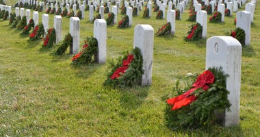 Arlington National Cemetery, Tombstones with Christmas Wreaths, Washington, DC