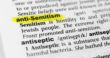 "Highlighted English word ""antisemitism"" and its definition in the dictionary"