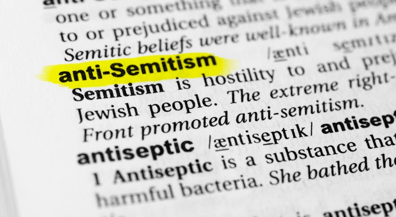 """Highlighted English word """"antisemitism"""" and its definition in the dictionary"""